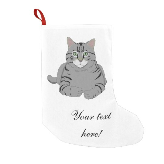 Grey cat cartoon small christmas stocking