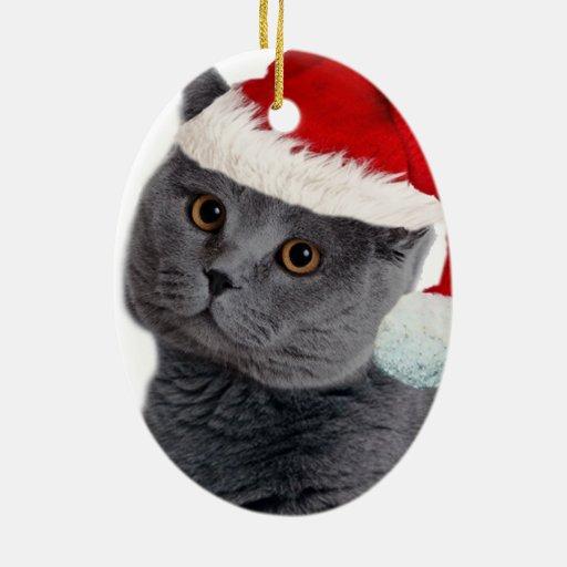 Grey Cat Christmas Ornament
