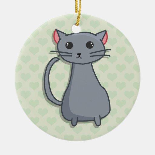 Grey Cat Illustration, Hearts Pattern Background Christmas Ornaments