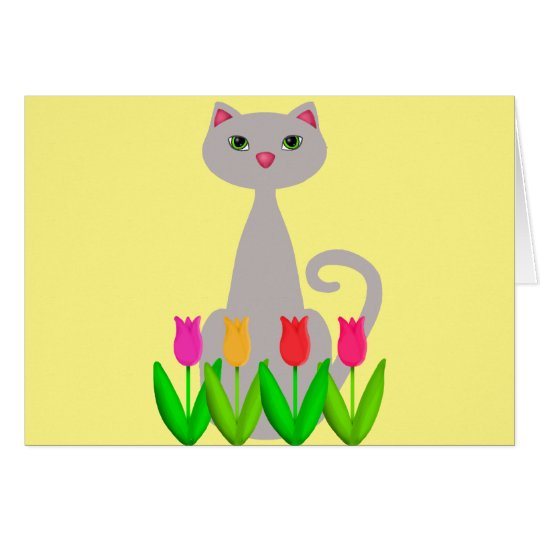 Grey Cat in Spring Flowers Card