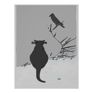 Grey Cat in Yard with Bird Poster