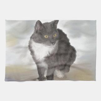 Grey Cat Kitchen Towel