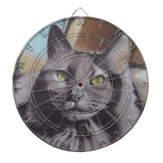 Grey Cat Pet Portrait Dartboard