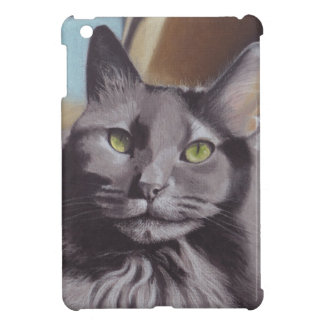 Grey Cat Pet Portrait iPad Mini Covers