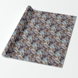Grey Cat Pet Portrait Wrapping Paper