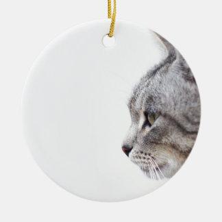 Grey cat round ceramic ornament