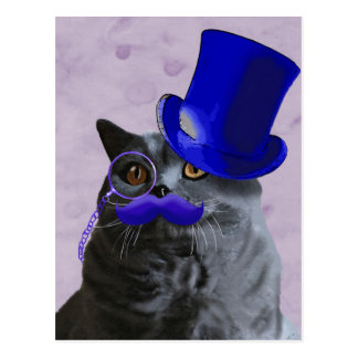 Grey Cat With Blue Top Hat and Moustache Postcard