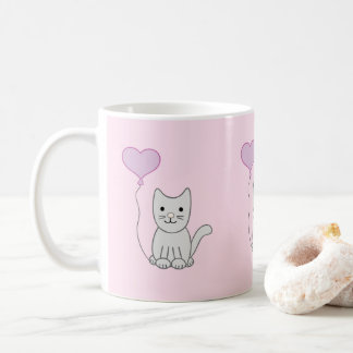 Grey Cat With Heart Balloon Valentine's Day Mug