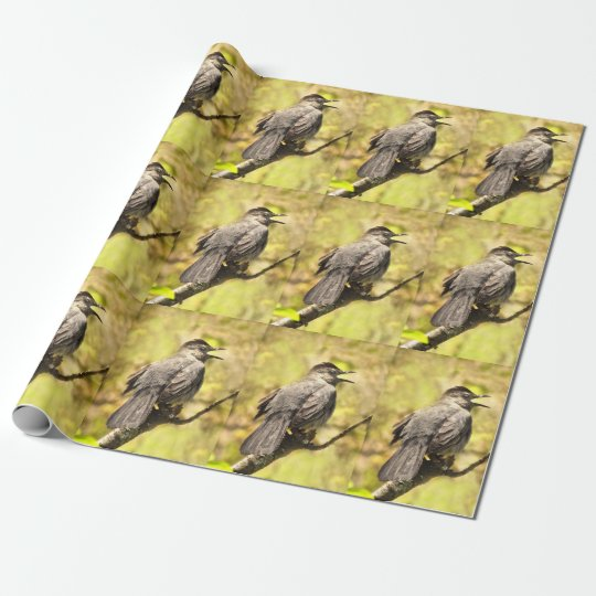 Grey Catbird Singing His Song Wrapping Paper