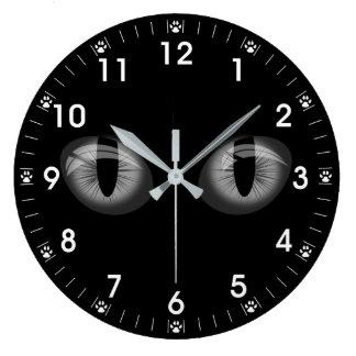 Grey Cats Eyes Paw Prints Large Clock