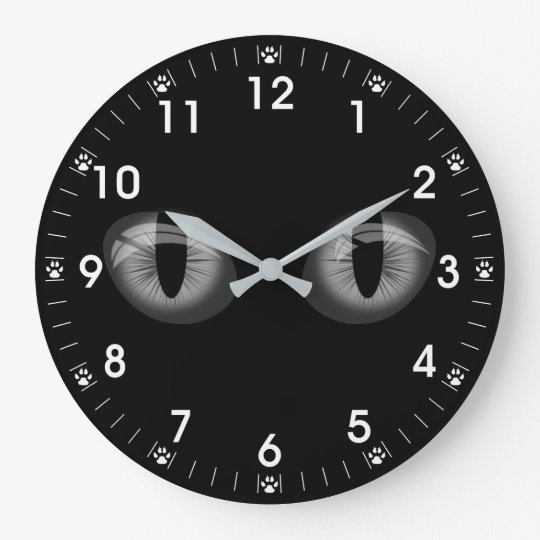 Grey Cats Eyes Paw Prints Large Clock
