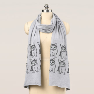 Grey Cats Pattern Jersey Scarf