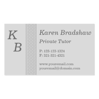 Grey Celtic Knot Private Tutor Business Card