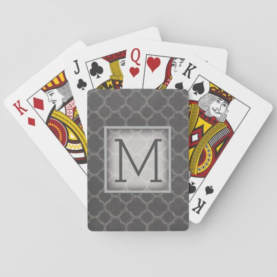 Grey Chalkboard Quatrefoil Pattern with Monogram Playing Cards