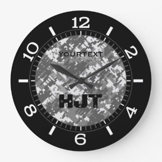 Grey Charcoal Urban Digital Camouflage Personalize Large Clock