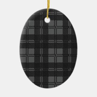 Grey Check Tartan Wool Material Ceramic Oval Ornament