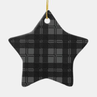 Grey Check Tartan Wool Material Ceramic Star Ornament