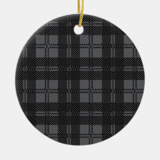 Grey Check Tartan Wool Material Round Ceramic Ornament