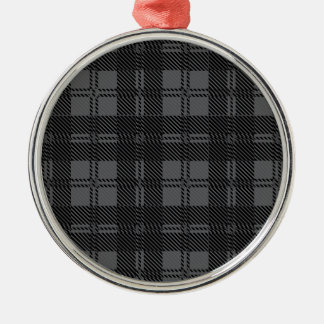 Grey Check Tartan Wool Material Silver-Colored Round Ornament