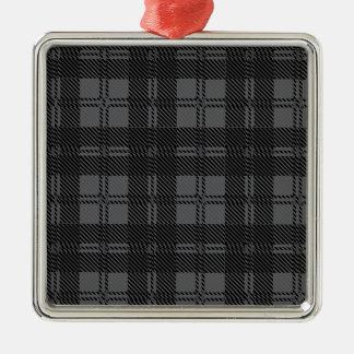 Grey Check Tartan Wool Material Silver-Colored Square Ornament