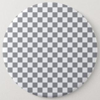 Grey Checkerboard 6 Inch Round Button