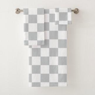 Grey Checkerboard Bath Towel Set
