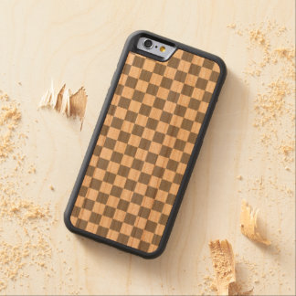 Grey Checkerboard Carved Cherry iPhone 6 Bumper Case