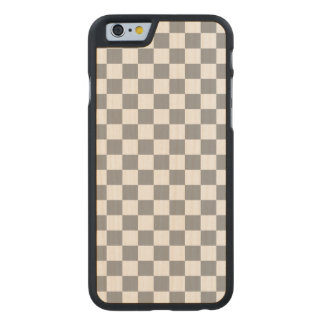 Grey Checkerboard Carved Maple iPhone 6 Case
