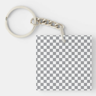 Grey Checkerboard Double-Sided Square Acrylic Keychain