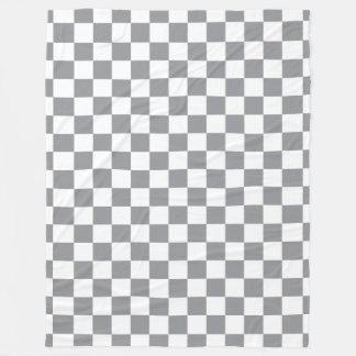 Grey Checkerboard Fleece Blanket