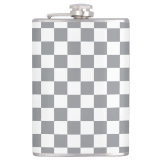 Grey Checkerboard Hip Flask