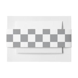 Grey Checkerboard Invitation Belly Band