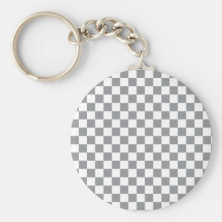 Grey Checkerboard Keychain