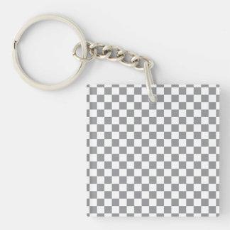 Grey Checkerboard Keychain