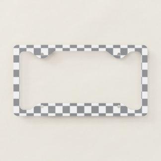 Grey Checkerboard License Plate Frame