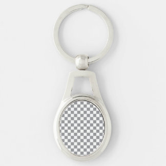 Grey Checkerboard Silver-Colored Oval Keychain