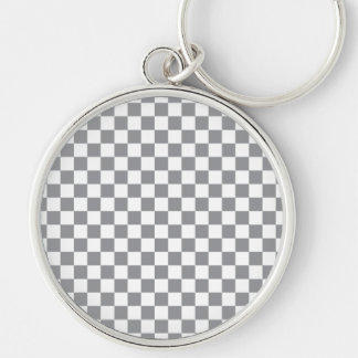 Grey Checkerboard Silver-Colored Round Keychain