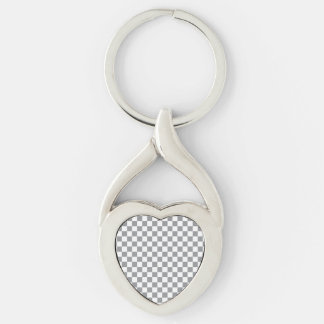 Grey Checkerboard Silver-Colored Twisted Heart Keychain