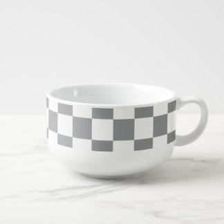 Grey Checkerboard Soup Mug
