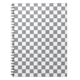 Grey Checkerboard Spiral Notebook