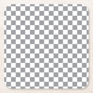 Grey Checkerboard Square Paper Coaster