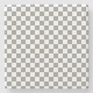 Grey Checkerboard Stone Coaster