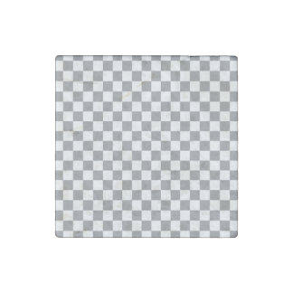 Grey Checkerboard Stone Magnets
