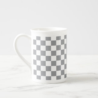 Grey Checkerboard Tea Cup