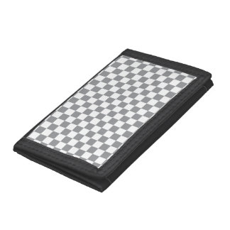Grey Checkerboard Tri-fold Wallet