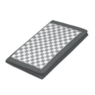 Grey Checkerboard Tri-fold Wallets