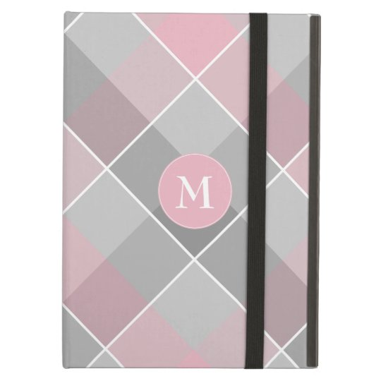 grey chequered plaid with monogram on pink iPad air case