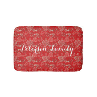 Grey cherry blossoms and hearts on ruby red bath mat