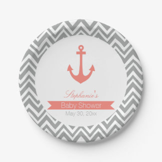 Grey Chevron and Coral Pink Nautical Baby Shower Paper Plate