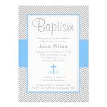 Grey Chevron Blue Cross Boy Baptism Christening Invites